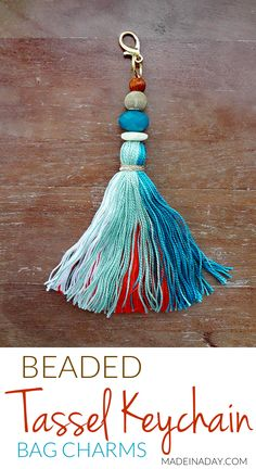 How to make large key chain to hang on your purse keys or home decor. Tassel Keychain, Diy Keychain, Tassel Earrings, Diy Embroidery Thread, How To Make Tassels, Making Tassels, Diy Tassel, Diy Craft Projects, Decor Crafts