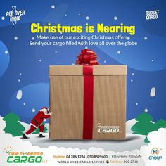 Christmas Offers, Cargo Services, Transportation, Globe, Container, Delivery, Free, Speech Balloon