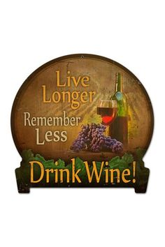 "Drink Wine Retro Metal Sign - 16"" x 15"" by Hip Retro Metal Signs on @HauteLook"