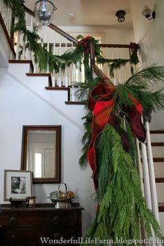 Wonderful Life Farm: Decking the Halls Tartan Christmas, Christmas Greenery, Primitive Christmas, Christmas Love, Rustic Christmas, All Things Christmas, Christmas Holidays, Christmas Wreaths, Christmas Crafts