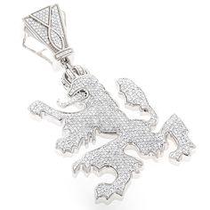 14K Gold Diamond Crown Lion Pendant 2.75ct