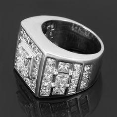 14K White Gold Mens Custom Diamond Ring #rings