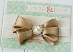 Gold Satin Double Bow with Pearl Rhinestone Center - 3-9 Months