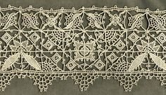 """Reticello Needle Lace Border. 19th century. 6"""" x 21½"""" (15.5 cm x 55 cm)."""