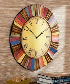 Multicolor Wall Clock Features a large clock face with bold, colorful rays. Round dimensions: in. Clock face: 19 in. Metal Vintage, Vintage Modern, Vintage Style, Unique Clocks, Rustic Wall Clocks, Colorful Frames, How To Make Wall Clock, Rainbow Wall, Large Clock