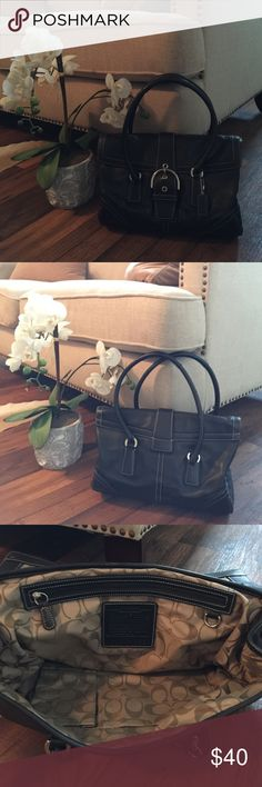 Large black leather coach tote Gently owned large coach black leather tote. Inside, outside and straps are in excellent condition! 15x 17 including straps. No spots fraying, or scratches. Coach Bags Satchels