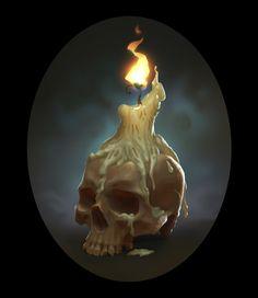 ArtStation - Artifact game cards, Karine K Digital Painting Tutorials, Digital Art Tutorial, Art Tutorials, Skull Candle, Candle Art, Skull Game, Horror Decor, Arte Dc Comics, Game Props