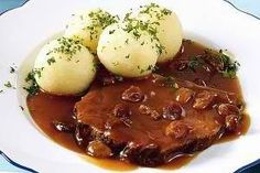 Authentic German Sauerbraten recipe for rustic living and cooking at the cabin, an authentic German recipe that is a slow cooked roast. Slow Cooking, Cooking Recipes, Authentic German Sauerbraten Recipe, Dumpling Recipe, Dumplings, Detox Recipes, Pot Roast, Food To Make, One Pot