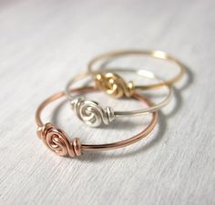 Promise+Rings+Set+of+Three+Knot+Ring+for+Tiny+by+holmescraft,+$30.00