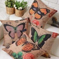 Buy Retro Orange Butterfly Cotton Linen Fabric Pillow Cover at Wish - Shopping Made Fun Orange Butterfly, Vintage Butterfly, Butterfly Park, Madame Butterfly, Cotton Pillow, Cotton Linen, Butterfly Cushion, Butterfly Decorations, Linen Sofa
