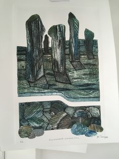 Still Standing, standing still. Year 8, Collagraph, Gelli Printing, Illustration Art, Illustrations, Etchings, Woodblock Print, Geometric Art, Landscape Art