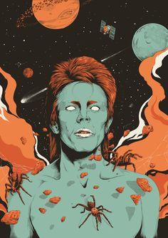 "David Bowie - ""Spiders from Mars"" - Artist © Joe Wilson Psychedelic Art, David Bowie Poster, David Bowie Art, Art Pop, Mayor Tom, Joe Wilson, Cultura Pop, Glam Rock, Art Forms"