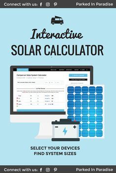 This interactive campervan solar panel calculator is a must save for anyone who wants to build a campervan conversion for Just put in your el. Solar Panels For Home, Best Solar Panels, Solar Panel Calculator, Solar Panel Inverter, Solar Camping, Camping Lights, Camping Gear, Solar Panel Installation, Solar Energy System