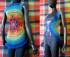 All sizes | Crochet Summer Vest - Rainbow Tie Dye Effect Flower Mandala | Flickr - Photo Sharing!
