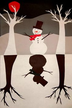 Snowmen - Trees collage- positive/negative #winter #art