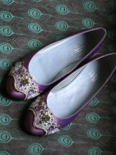 Of course I fall in love with the $100 shoes. Stunning Sugarplum Fairy Purple Ballet Flats by BeholdenBridal on Etsy