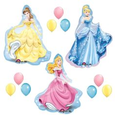 DISNEY PRINCESS BALLOONS SET sleeping beauty belle cinderella party birthday