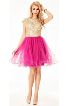 Diferentiaza-te la urmatorul eveniment intr-o superba rochie de seara, precum Denisse Pink. Este in nuante de auriu s roz, cu fusta in clos | online | Fashion24 Ballet Skirt, Skirts, Fashion, Moda, Tutu, Fashion Styles, Skirt, Fashion Illustrations