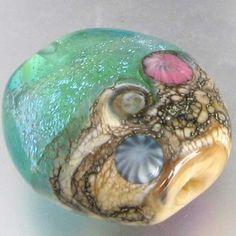 Ocean Blue Handmade Lampwork Dichroic Glass Beach Bead -sra