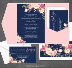 Navy and blush pink wedding invitations. Complete custom suite with pretty watercolor flowers in blush pink. Also includes rsvp cards and custom envelope liners. Order now at Jeneze Designs.
