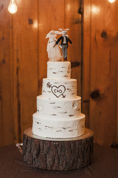 Reception Tiered Wedding Cake Initials Love Heart Woodland Creatures Cake Topper Wood Slice Base Whimsical Forest Harry Potter Wedding http://heatherelizabethphotography.com/
