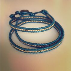 Auth Chan Luu Gold & Turquoise 3 Wrap Bracelet Authentic Chan Luu gold vermeil silver nuggets on metallic blue turquoise leather 3-wrap bracelet, with gold button.  Gorgeous color. Retails for $198. Chan Luu Jewelry Bracelets