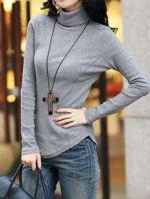 Grey Simple Ladies Candy Color Turtleneck Stretch Bodycon Bottoming Shirt