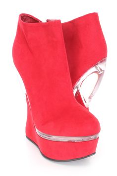 55b85d85461 Red Clear Trimmed Gravity Wedges Faux Suede. Red WedgesBoot WedgesWedge  BootsWedge HeelsProm HeelsUnique ShoesAnti ...