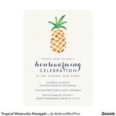 Tropical Watercolor Pineapple Housewarming Party Card