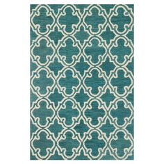 Rug for bedroom???---Anchor your living room seating group or define space in the den with this artfully hand-hooked wool rug, featuring a quatrefoil-inspired trellis motif for e...