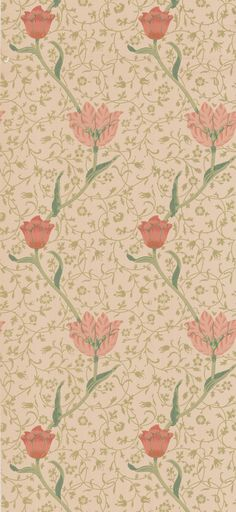 Garden Tulip Vanilla/Russet tapet från William Morris & Co - Tapetorama Cozy Corner, William Morris, Victorian Fashion, House Colors, Tulips, Vintage World Maps, Vanilla, Art Deco, Indian