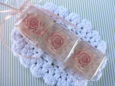Gift Pack of 3 Pink Rose Decorative Glycerin Gift & Guest Soap Favors