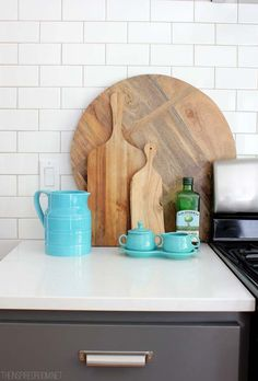 Summer Kitchen Decorating- cutting boards and grout between tile