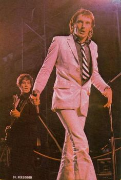 DR FEELGOOD - 1974. Canvey's finest  were a big influence on others in their area like KURSAAL FLYERS, EDDIE & THE HOTRODS, RAW POWER (band) and in France LITTLE BOB STORY. A few years later the effect WILCO JOHNSON had on JOE STRUMMER & PAUL WELLER was easy to see.. Especially live.