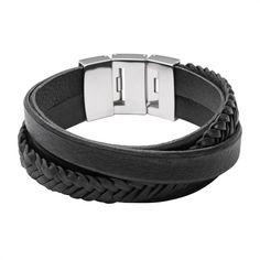 Viersträngiges Armband Fossil schwarz Leder JF02079040 http://www.thejewellershop.com/ #armband #herren #bracelet #black #leder #fossil