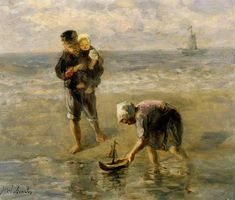 Jozef Israels-Launching the Boat