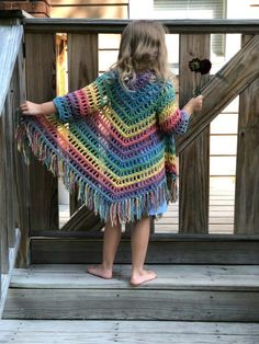 Crochet Patterns Girl Young girl holding open triangle shawl showing from behindRavelry: Child Shawl Cardigan pattern by Ashlea KonecnyI am so excited about my newest design, the It's Shawl Good cardigan. This is the first of the child sizes, a free Crochet Baby Poncho, Crochet Toddler, Crochet Poncho Patterns, Crochet Girls, Crochet For Kids, Crochet Shawl, Knitting Patterns, Knit Crochet, Free Crochet