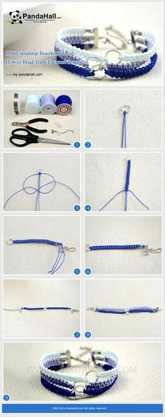 DIY Friendship Bracelet Tutorial - How to Braid Triple Paracord Bracelets. Difficult, but I'll try!