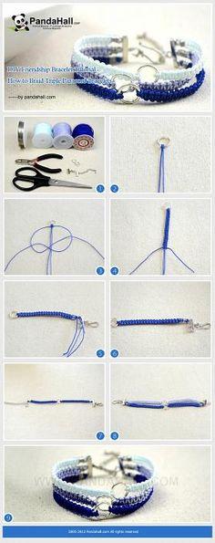 DIY Friendship Bracelet Tutorial - How to Braid Triple Paracord Bracelets. Difficult, but I'll try!