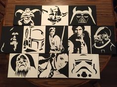 A complete set of Star Wars themed paintings.  Acrylic paint in 8x10 canvas