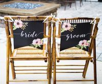 Boho Bride and Grooms Chair Banner Signs to add to your Wedding Sweetheart Table Decor // Handcrafted Table Signs and Event Decor, Gifts & Accessories at www.ZCreateDesign.com or ZCreateDesign on Etsy by Clicking Pin