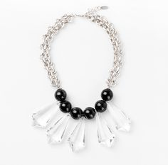 Unique necklace with black and transparent ornament color with lobster clasp fastening and House of Jealouxy logo. http://www.zocko.com/z/JJfkC
