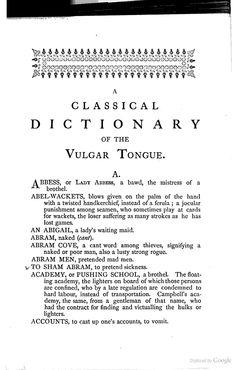 A Classical Dictionary of the Vulgar Tongue - Francis Grose - Google Books