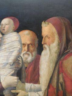 """Giovanni Bellini, """"The presentation in the Temple"""", 1460 ca., detail, empera on panel, Museo Querini Stampalia, Venice."""