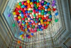 Balloon covered ceiling for a Disney Up themed wedding