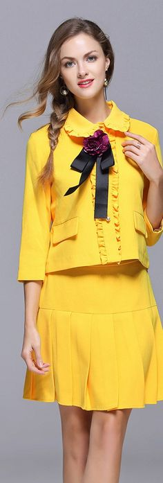 Yellow Ruffled Bow Top with Pleated Skirt