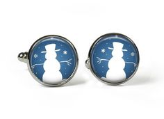 SNOWMAN - XMAS - Glass Picture Cufflinks - Silver Plated (Art Print Photo AT12) by RosettaLondon on Etsy