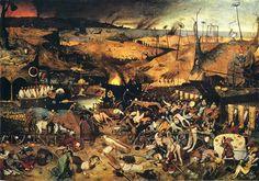 Pieter Brueghel the Elder, The Triumph of Death (c. in the Museo del Prado, Madrid. Brueghel was strongly influenced by the style of Hieronymus Bosch. Hieronymus Bosch, Salvador Dali, Renoir, Pieter Brueghel El Viejo, Renaissance Kunst, Pieter Bruegel The Elder, Black Death, Danse Macabre, Triomphe