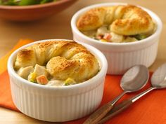 Mini Chicken Alfredo Pot Pies - I made this but made it like a hotdish and added some pasta. YUM!!!!!!!