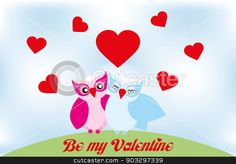 Valentine day lovely owls greeting card stock vector
